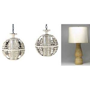 Modern lighting lot consisting of two filigree ball lamps and a carved wood table lamp filigree lamp 14 12 dia