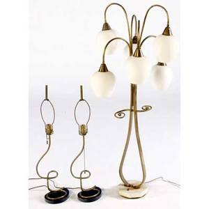 Modern three lighting pieces tall brass table lamp with satin glass shades and pair of brass and enameled wood table lamp bases tallest 48 h