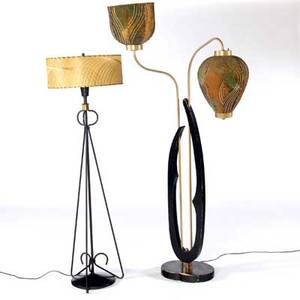 Modern floor lamps with wire and wood each with laced shade tallest 68 12