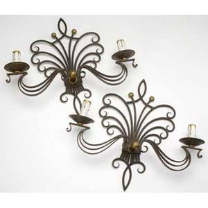 Style of poillerat pair of wrought iron sconces each 16 x 17