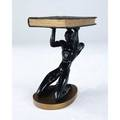 Art deco side table with bound volume top on sculptural nude base signed on bottom baldwin studios 23 12 x 17 x 12