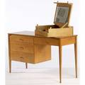Paul mccobb single pedestal desk together with fliptop mirrored vanity in maple each with planner group foil tag 29 x 48 x 18 14