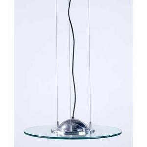 Style of fontana arte ceiling fixture of chrome and glass 53 x 20 dia