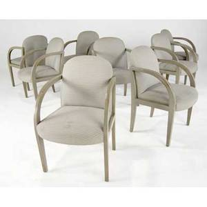 Donghia set of eight chairs upholstered in taupe fabric on painted wooden frames donghia fabric tags each 35 x 21 12 x 22