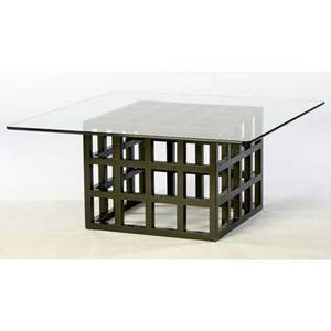 Richard meier attr coffee table with glass top over black lacquered wooden cube base 18 34 x 42