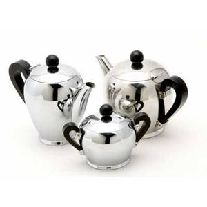 Alessi  alfra three pieces teapot cream pitcher and sugar dish in silver and black lacquered metal all stamped with alfra italy hallmark teapot 5 12 x 7 12 x 5