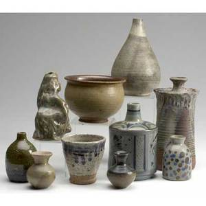 Studio pottery ten pieces including gourd and bottle shapes signed and unsigned vases etc tallest 8 12