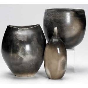 Ron dean three ceramic pieces covered in mottled black and gray glazes all signed and numbered largest 6 12 x 6 x 5 12