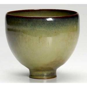 Scheier footed vessel covered in olive and blue semimatte glaze incised scheier 4 34 x 5 14