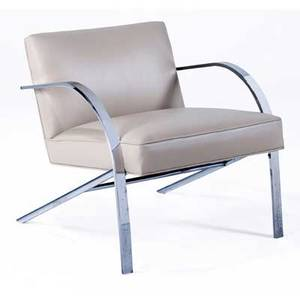 Paul tuttle lounge chair with eggshell leather cushions on polished steel frame 27 12 x 27 x 32