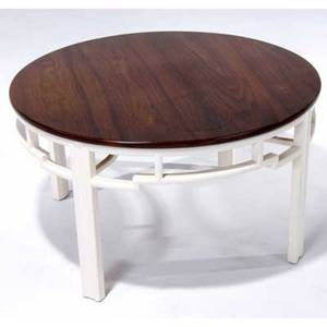 Modern round occasional table with walnut top on fretwork base from the grieco house built by marcel breuer in andover massachusetts 1954 18 x 31