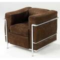 Le corbusier  cassina lc2 tubular chromed steel chair with brown suede cushions stamped cassina with atelier label 26 x 30 x 28