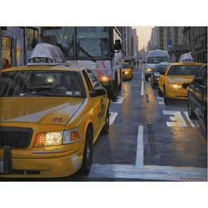 Bruce braithwaite american b 1950 taxi driver new york city oil on canvas framed signed and titled 24 x 32 provenance privat collection new jersey