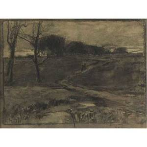 William langson lathrop american 18591938 evening charcoal and watercolor on paper framed signed 8 18 x 10 78 sight exhibition intimate vistas the poetic landscapes of william langs
