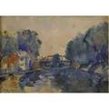 Frederick william harer american 18791947 bridge across the delaware watercolor on paper framed signed 9 12 x 13 14 sight provenance private collection pennsylvania