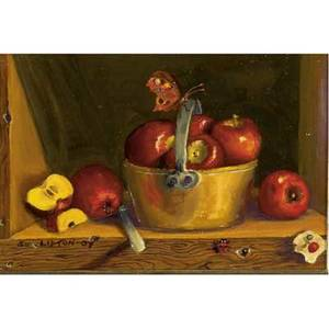 Sondra lipton american 20th c three works of art apples in old brass pot oil on board framed signed 4 x 6 sight cyclamen and primroses in clay pots oil on board framed signed 4 12