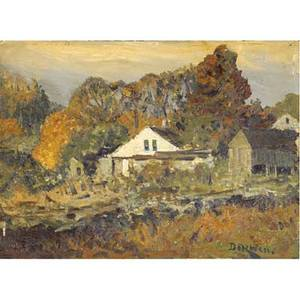 Franklin benjamin dehaven american 18561934 three works of art near scarsdale ny oil on board signed and titled 7 78 x 11 38 old time farm house oil on board signed and titled 8 x