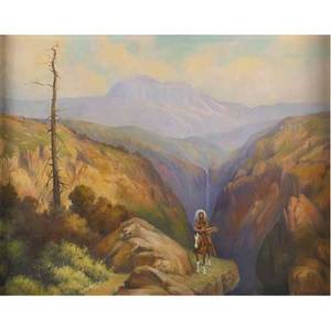 Carl w brandien american 18861965 edge of grand canyon oil on canvas framed signed and titled 24 x 30 provenance private collection new jersey