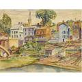 Max kuehne american 18801968 looking up from the river new hope pennsylvania watercolor and graphite on paper framed with estate stamp 14 12 x 18 12 sight provenance estate of the a