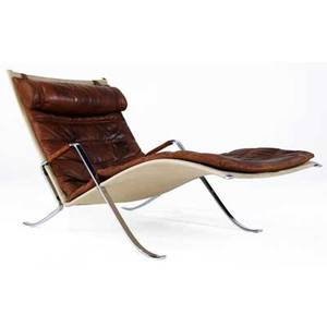 Preben fabricius  jorgen kastholm  alfred kill grasshopper lounge chair on polished steel frame upholstered in channeled brown leather with canvas sling support 32 12 x 28 14 x 57
