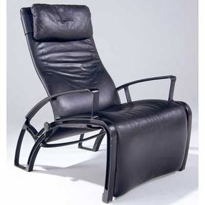 Fa porsche reclining lounge chair with black leather upholstery on arched metal frame stamped ip84s design fa porsche with made in germany label 44 x 29 x 44