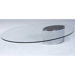 Cini boeri lunaria coffee table with elliptical glass top over chromed steel base 12 12 x 59 x 43 12