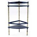 Jacques adnet  hermes corner shelf with leathercovered shelves on brass bamboo frame 33 12 x 14