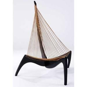 Jrgen hovelskov harp chair on ebonized frame with flag line seat 51 12 x 33 x 40