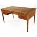 Fritz henningsen oak desk with five drawers and brass drop pulls 29 x 59 x 31 12
