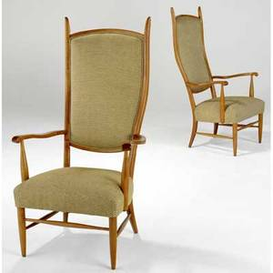 Swedish pair of fruitwood highback armchairs upholstered in beige and olive textured fabric 50 x 26 x 21