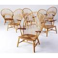 Hans wegner  johannes hansen rare set of six peacock chairs in ash and teak with woven cord seats branded marks 42 14 x 27 14 x 21 14