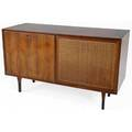 Scandinavian walnut stereo cabinet with interior garrard record player and television compartment 32 x 54 x 21