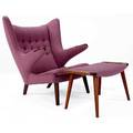 Hans wegner papa bear chair and ottoman on teak frames upholstered in plumcolored fabric chair 39 x 35 12 x 28 ottoman 16 14 x 27 x 16 12