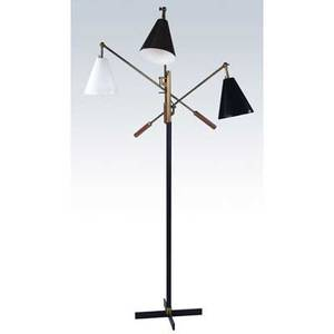 Arredoluce triennale floor lamp in brass and enameled metal with three adjustable arms approximately 59 x 32