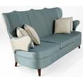 Italian settee upholstered in light blue silk on sculpted winged frame 36 x 66 x 32