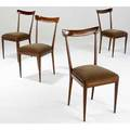 Ico parisi set of four lacquered mahogany side chairs with cinnamon velvet cushions 36 x 19 12 x 21