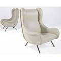 Marco zanuso pair of senior lounge chairs upholstered in eggshell leather with brass legs 41 x 30 x 30