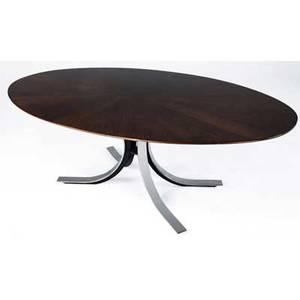 Osvaldo borsani dining table with radiating walnut veneer top on polished steel base 28 x 77 34 x 47