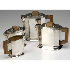 Bloch eschwege paris fourpiece art deco sterling silver tea and coffee set with teak handles stamped with makers marks and minerva hallmark largest 6 34 x 7 12 x 3 34
