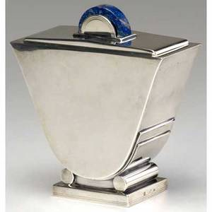 Cardeilhac urnshaped art deco sterling silver covered box with lapis lazuli handle stamped with makers marks and minerva hallmark 6 x 5 12 x 2 14