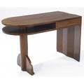 Modern singledrawer desk in wood veneer one end faceted the other curved 29 12 x 45 12 x 22 12