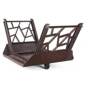 Art deco massive cast iron firewood rack with abstract fretwork side panels 37 x 82 x 33