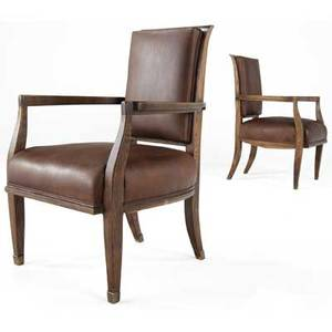 Modern pair of armchairs with brass leather cushions on oak frames with brasscapped feet 37 12 x 25 14 x 24 14