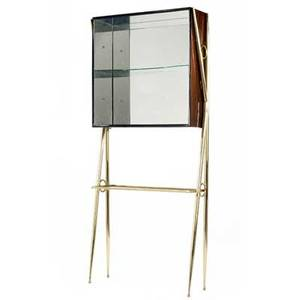 Italian bar cabinet its mirrored rosewood case with two glass shelves on polished brass frame 77 x 34 x 11