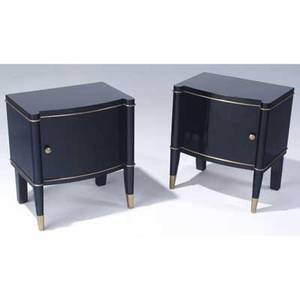 De coene belgium pair of singledoor nightstands with black lacquer finish and brass trim en suite with preceding c 1940 22 x 19 12 x 14