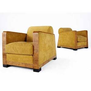 Italian art deco pair of burlwood lounge chairs upholstered in ochre suede 29 x 28 x 34