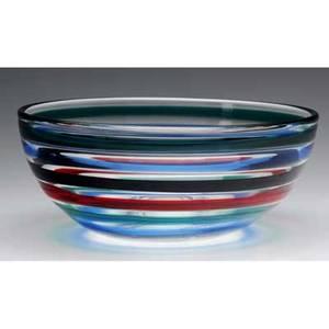 Fulvio bianconi  venini fasce orizzontali hemispheric glass bowl circular mark venini murano 4 x 9 14