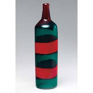 Fulvio bianconi  venini bottleshaped blown glass vase in green with broad red bands etched threeline mark venini murano italia 14 12 x 3 12