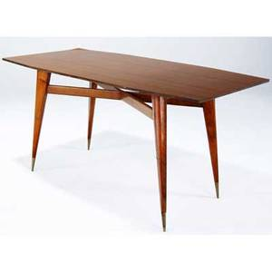 Gio ponti dining table with woodgrain formica top on tapered walnut legs and brasscapped feet ponti archives certificate of authenticity included 31 x 63 x 31