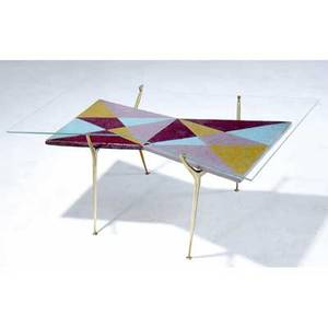 Gio ponti glasstop coffee table with glazed ceramic shelf on bronze base tile marked acma made in italy 17 x 40 x 27